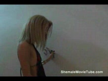 Blonde shemale fucked by a guy