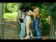 Shemale with two guys outside