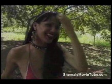 Shemale fucked outdoors